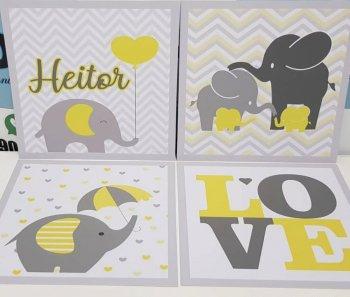 Elefantinho cinza com amarelo