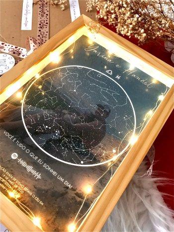 Quadro Mapa Das Estrelas Com Fio De Fada