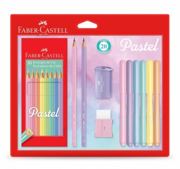 Kit Pastel - 10 lápis de cor, 1 apontador, 1 borracha, 6 canetinhas e 2 lápis