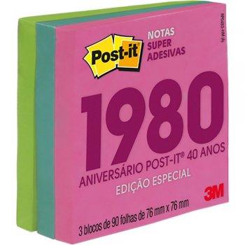 Bloco Post-it 76x76 Coleção anos 1990/1980/2000/2010 c/ 270fls 3M PT 1 UN