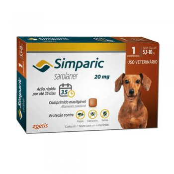 Simparic 20 Mg Cães 5.1 A 10 Kg - 1 Comprimido