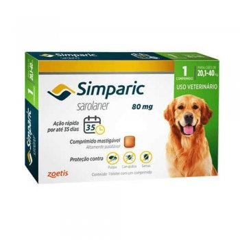 Simparic 80 Mg Cães 20.1 A 40 Kg - 1 Comprimido