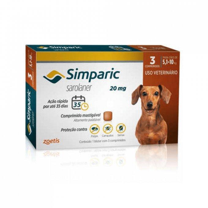 Simparic 20 Mg Cães 5.1 A 10 Kg - 3 Comprimido