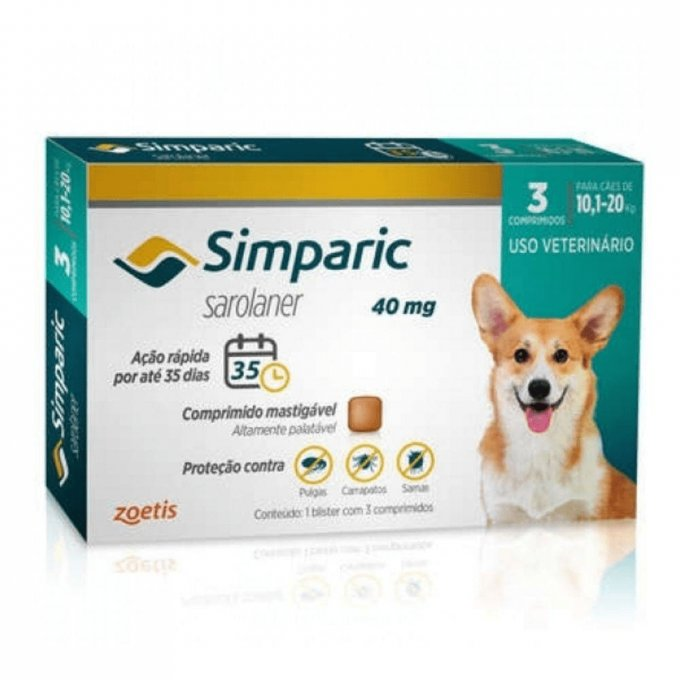 Simparic 40 Mg Cães 10.1 A 20 Kg - 3 Comprimido