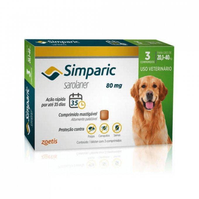 Simparic 80 Mg Cães 20.1 A 40 Kg - 3 Comprimido