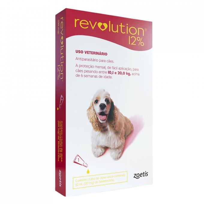 Revolution 12% 120mg Cães 10,1 a 20kg - 1 Pipeta