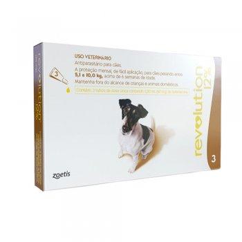 Revolution 12% 60mg Cães 5,1 a 10kg - 3 Pipeta