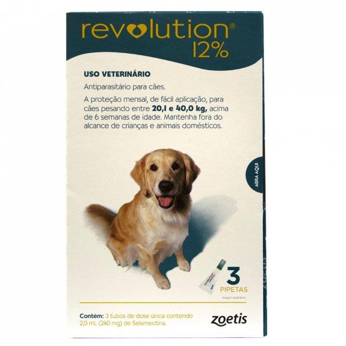 Revolution 12% 240mg Cães 20,1 a 40kg - 3 Pipeta