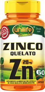 ZINCO QUELATO ZN 60X28MG UNILIFE VITAMINS
