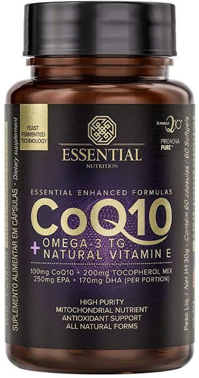 CoQ10 + Ômega 3 TG Natural Vitamin E (60 caps) Essential Nutrition