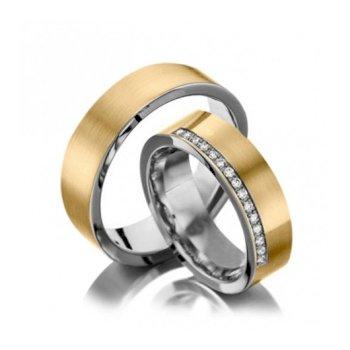 Alianças Casamento Ouro E Prata Polida 5mm 10g