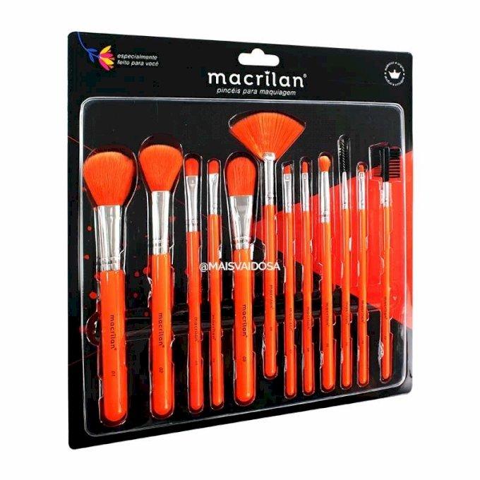 Kit 12 Pincéis para Maquiagem Laranja Neon