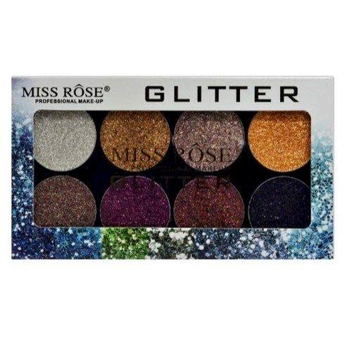 Paleta de Glitter Miss Rose 8 Cores