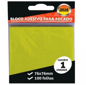 Bloco Adesivo 76x76mm Amarelo - Jocar