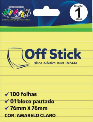 Bloco Adesivo Pautado 76x76mm Amarelo - Off Stick