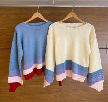 Blusa tricot mangas listradas