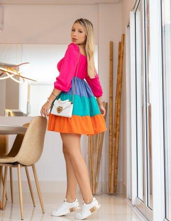 Vestido boneca crepe colorido