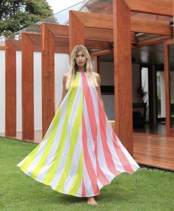 Vestido Longo em malha listrado bicolor Salgu