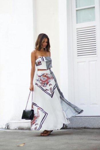 Conjunto estampado saia longa e top lenço cinza Salgu