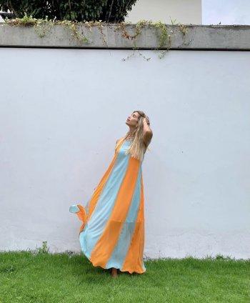Vestido longo chiffon recorte listras bicolor Salgu