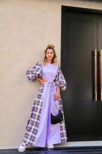 Vestido longo bufante patchwork lilas/xadrez Salgu