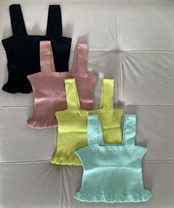 Cropped alcinha babado barra tricot