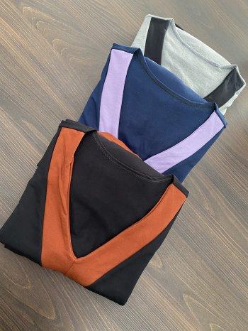 Conjunto moletinho blusa manga longa e calça bicolor TL