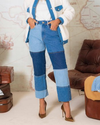 Calça jeans patchwork
