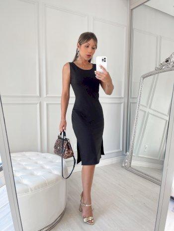 Vestido Midi liso crepe malha TL preto