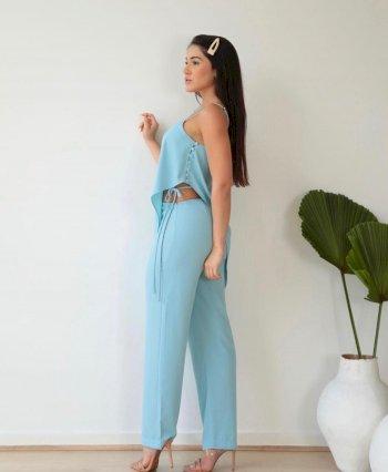 Conjunto calça e blusa ponta com botões lateral Salgu