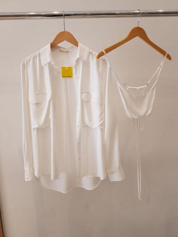 Camisa bolsos e top off em viscose Salgu