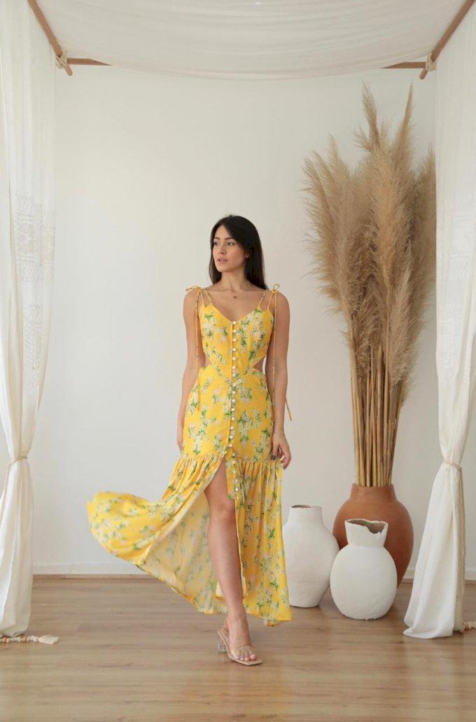 Vestido midi floral alcinha amarração e botões Salgu