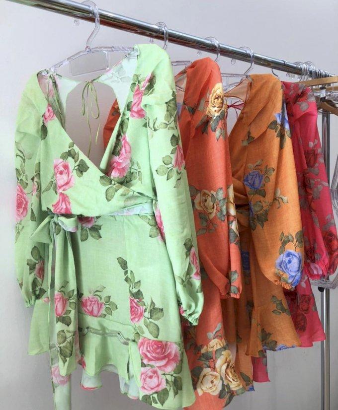 Vestido curto floral manga longa e amarração cintura Salgu