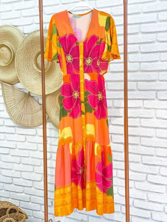 Vestido midi botões floral amarelo Artecor