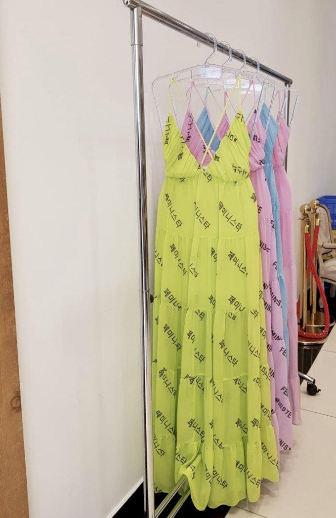 Vestido longo amplo escrita coreana Salgu