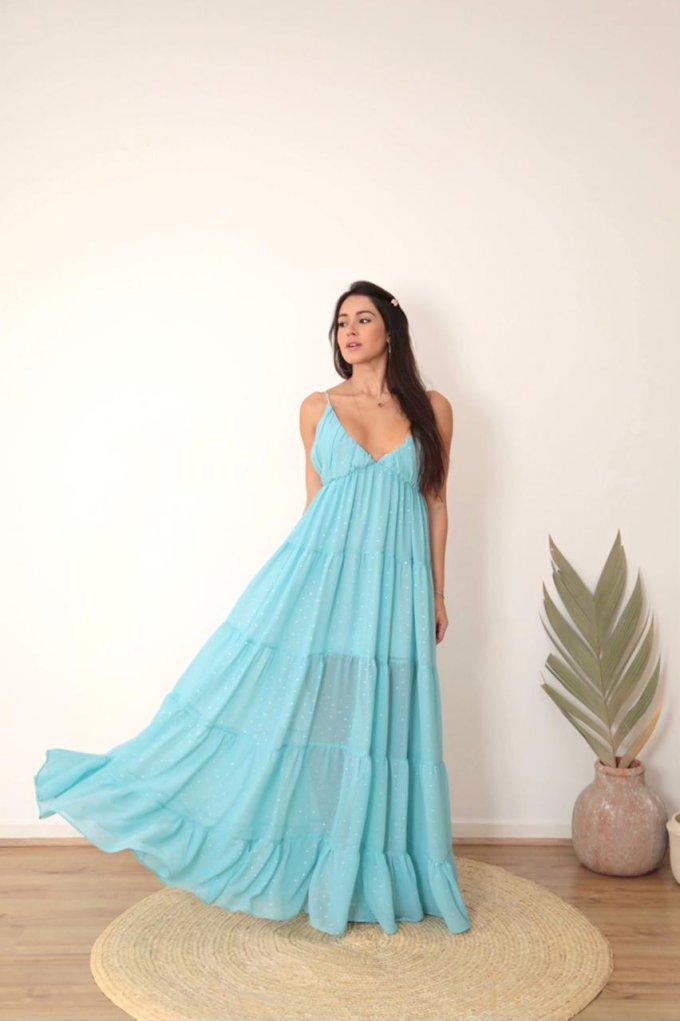 Vestido longo liso tecido bolinhas fluido e camadas Salgu