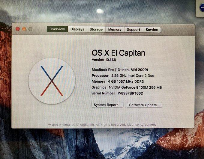 B633035 MacBook PRO 13' / 2.26 GHz / CORE 2 Duo P7550 / 4G / 250GB SSD / A1278 /2009/ 259 ciclos
